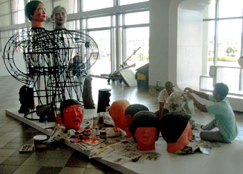 Preparing masks for the higantes festival