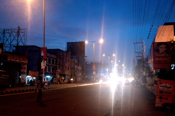 MG Road at night