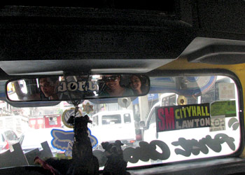 Inside the jeepney taking us to Tabora Street