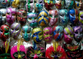 Wall of papier-mâché masks