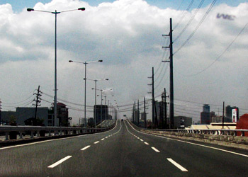 Driving along South Luzon Expressway towards the south