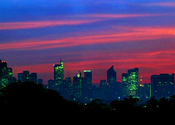 Makati skyline at dusk