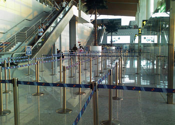 Queue markers at Delhi Airport